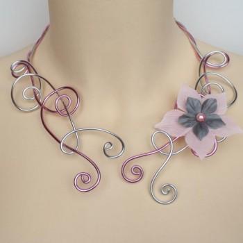 Collier mariage fleur rose gris argent COA347