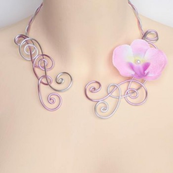 Collier mariage argent rose orchidée COA326