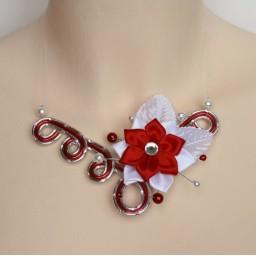Collier mariage argent rouge fleur COA349
