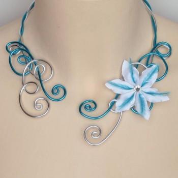 Collier mariage turquoise argent fleur plumes COA329