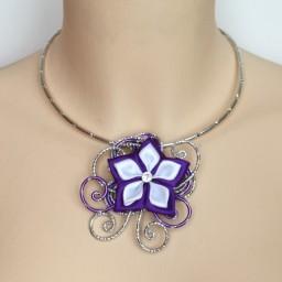 Collier mariage argent violet blanc COA343