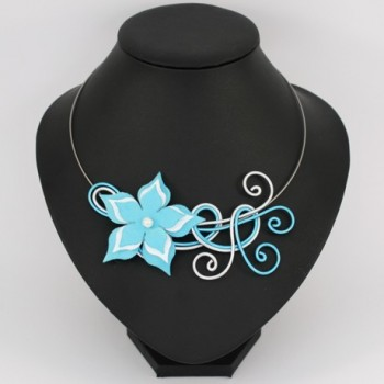 Collier mariage fleur bleu turquoise et blanc COA359