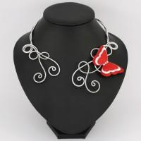 Collier mariage papillon rouge et blanc COA356