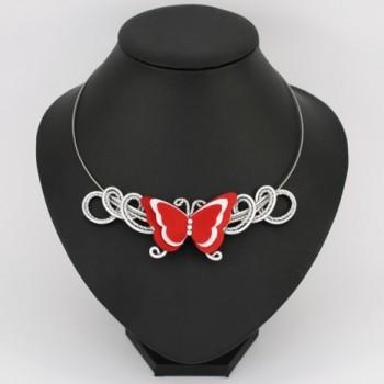 Collier mariage papillon rouge et blanc COA357