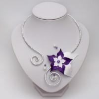 Collier mariage fleur blanc violet COA360