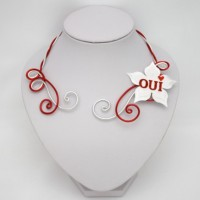 Collier mariage OUI blanc rouge argent COA362