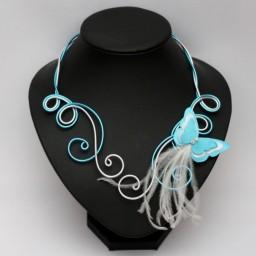 Collier mariage papillon blanc et bleu turquoise COA361