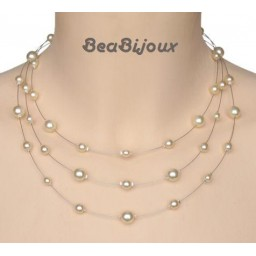 Collier mariage ivoire 3 rangs CO1124A
