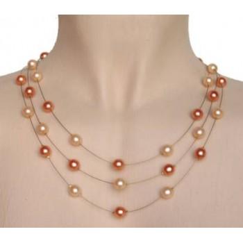 Collier perles pêche et corail CO1161A