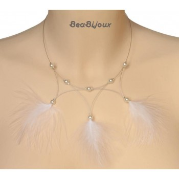 Collier mariage plumes blanches CO1173P
