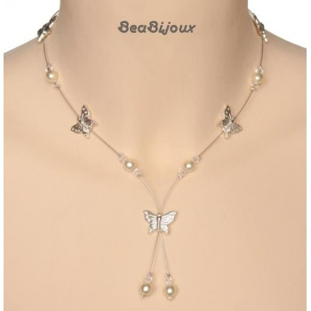 Collier perles papillon cristal CO1174A