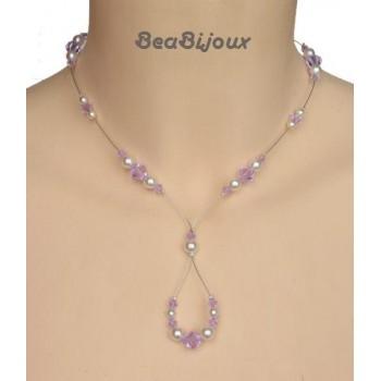 Collier mariage ivoire  et cristal violet CO1203A