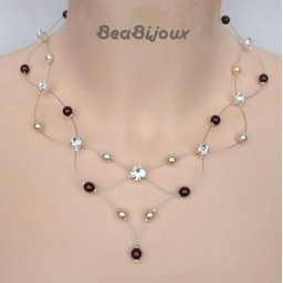 Collier mariage ivoire et chocolat + strass CO1214A