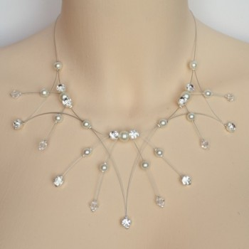 Collier mariage Blanc et strass CO1266A