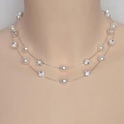 Collier mariage blanc et strass CO1255A