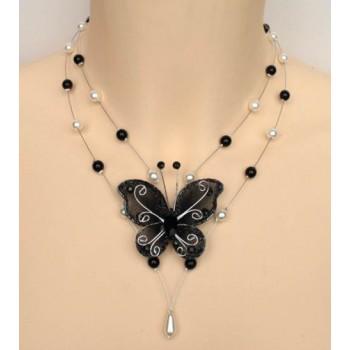 Collier mariage blanc, noir et papillon CO1218A