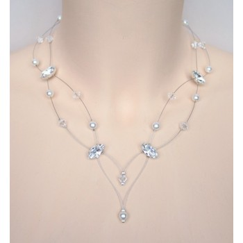 Collier mariage blanc cristal et strass CO1238A