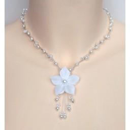 Collier mariage fleur blanc cristal CO1240A