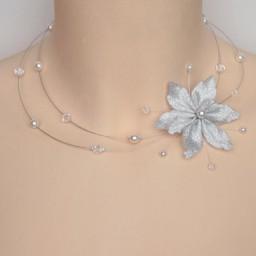 Collier mariage blanc cristal fleur argent CO1253A