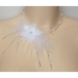 Collier mariage fleur plumes  blanc cristal CO1239A