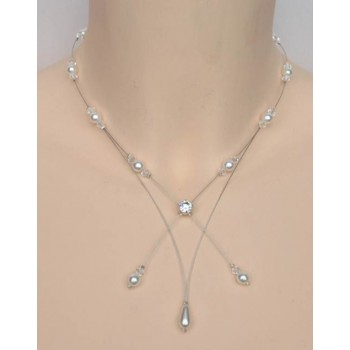 Collier mariage blanc cristal et strass CO1221A