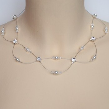 Collier mariage blanc et cristal strass CO1265A