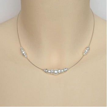 Collier mariage blanc et strass CO1250A