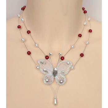 Collier mariage blanc rouge + papillon CO1219A