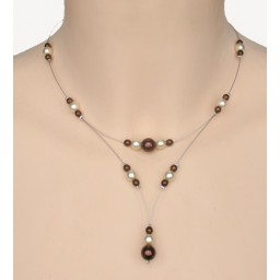 Collier mariage ivoire chocolat CO1256A