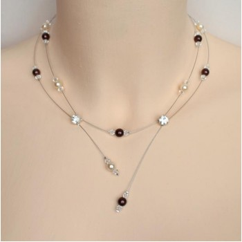 Collier mariage ivoire chocolat cristal strass CO1247A