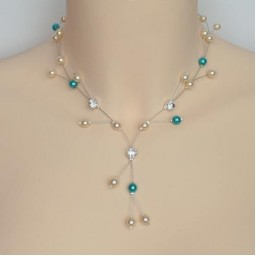 Collier mariage ivoire turquoise + strass CO1252A