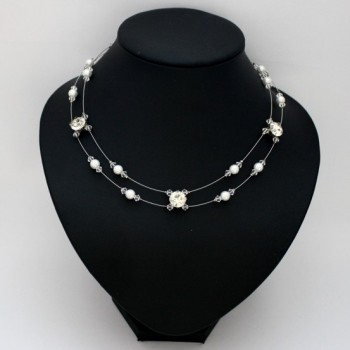 Collier mariage double rang blanc cristal strass CO1274A