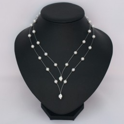 Collier mariage blanc et strass CO1276A