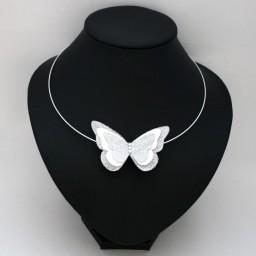 Collier mariage papillon blanc et argent CO1271A