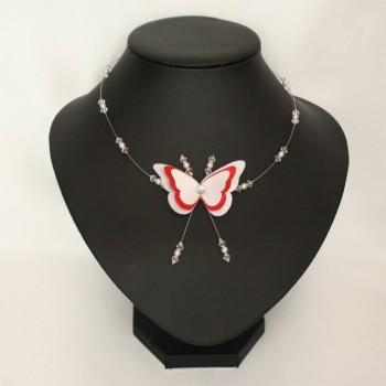 Collier mariage papillon blanc et rouge CO1268A