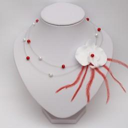 Collier mariage orchidée blanc et rouge CO1278A
