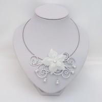 Collier mariage blanc et fleur CO1280A
