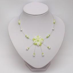 Collier mariage fleur blanc vert anis CO1277A