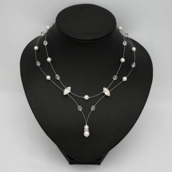 Collier mariage blanc cristal et strass CO1188A