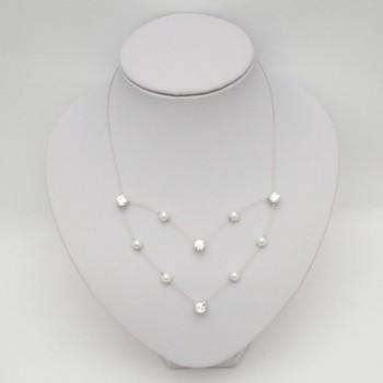 Collier de mariage blanc et strass CO1282A