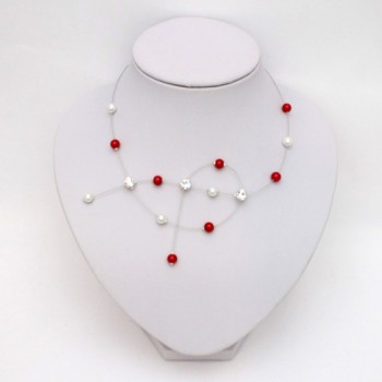 Collier mariage blanc rouge strass CO1284A