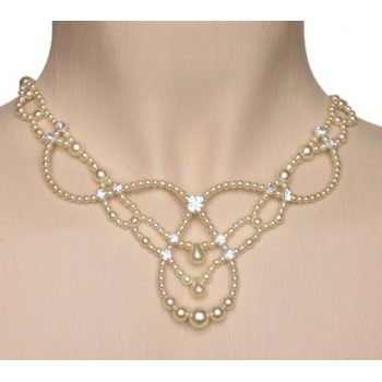 Collier mariage ivoire et strass CO4233Z