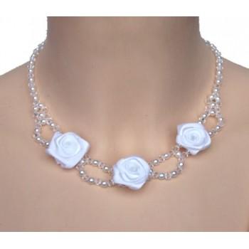 Collier mariage fleur et cristal CO4275A