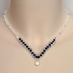 Collier mariage cristal irisé et noir CO4285A