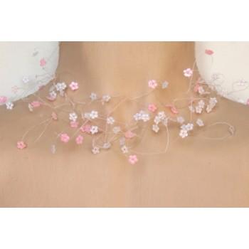 Collier fantaisie fleurs blanc et rose CO4247A