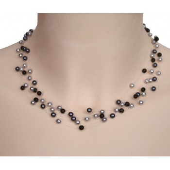 Collier perles gris et noir CO4278A