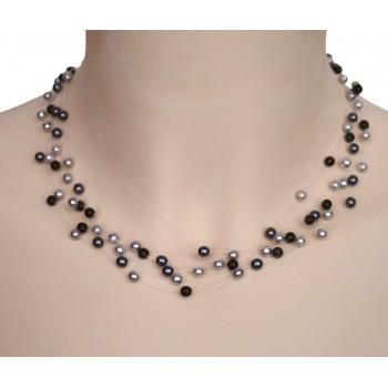 Collier perles gris et noir CO4278A