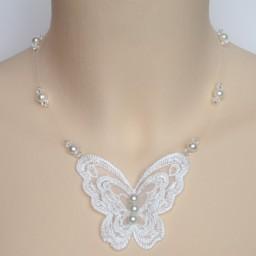 Collier mariage papillon dentelle blanc CO4282A