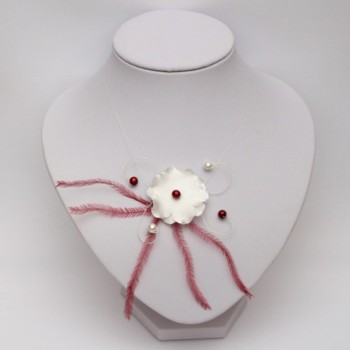 Collier mariage fleur plumes ivoire clair bordeaux CO4291A