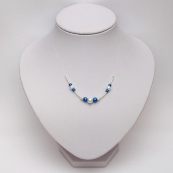 Collier mariage blanc bleu royal CO4289A